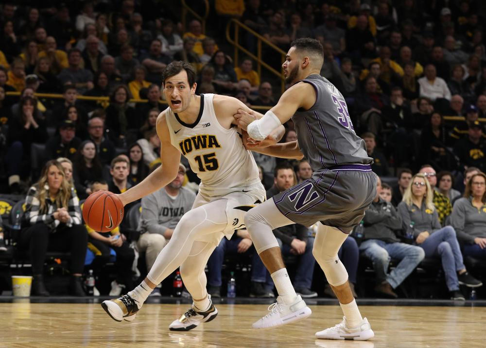 Iowa Hawkeyes forward Ryan Kriener (15) against the Northwestern Wildcats Sunday, February 10, 2019 at Carver-Hawkeye Arena. (Brian Ray/hawkeyesports.com)
