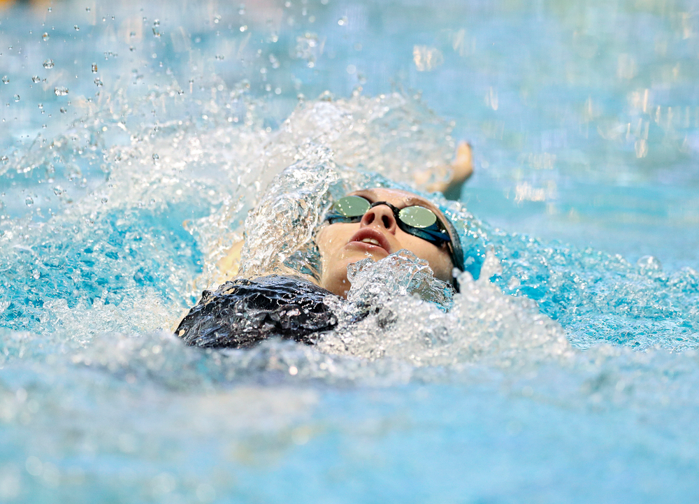 Iowa's Georgia Clark swims the women's 400 yard individual medley preliminary event during the 2020 Women's Big Ten Swimming and Diving Championships at the Campus Recreation and Wellness Center in Iowa City on Friday, February 21, 2020. (Stephen Mally/hawkeyesports.com)