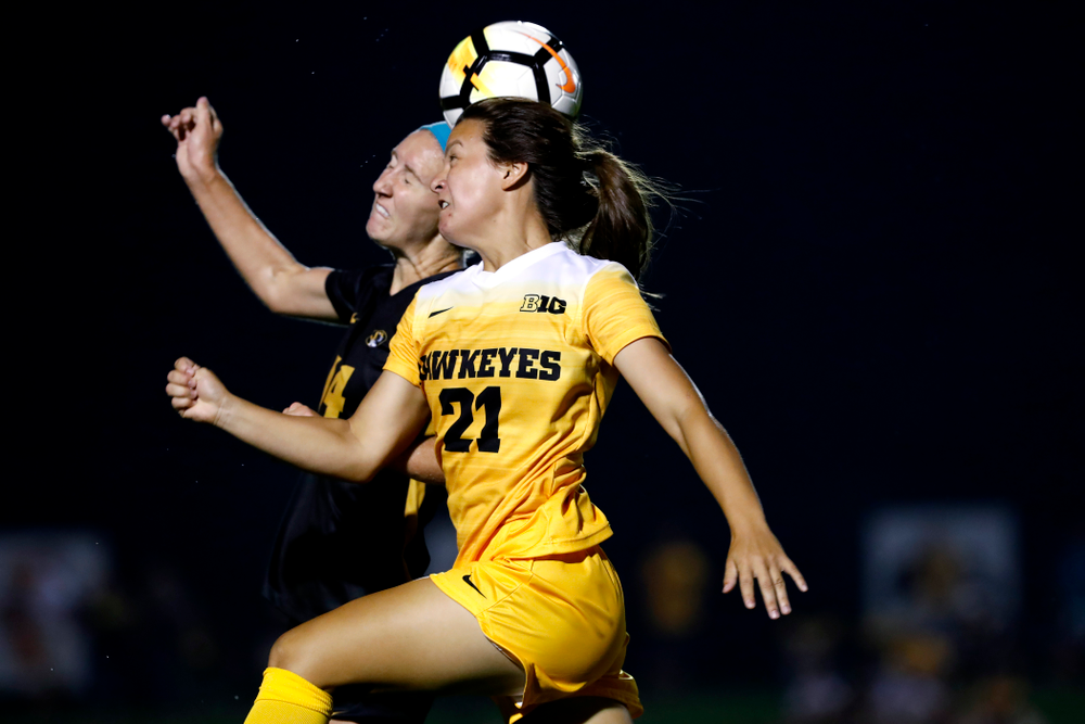 Iowa Hawkeyes Emma Tokuyama (21) against the Missouri Tigers Friday, August 17, 2018 at the Iowa Soccer Complex. (Brian Ray/hawkeyesports.com)