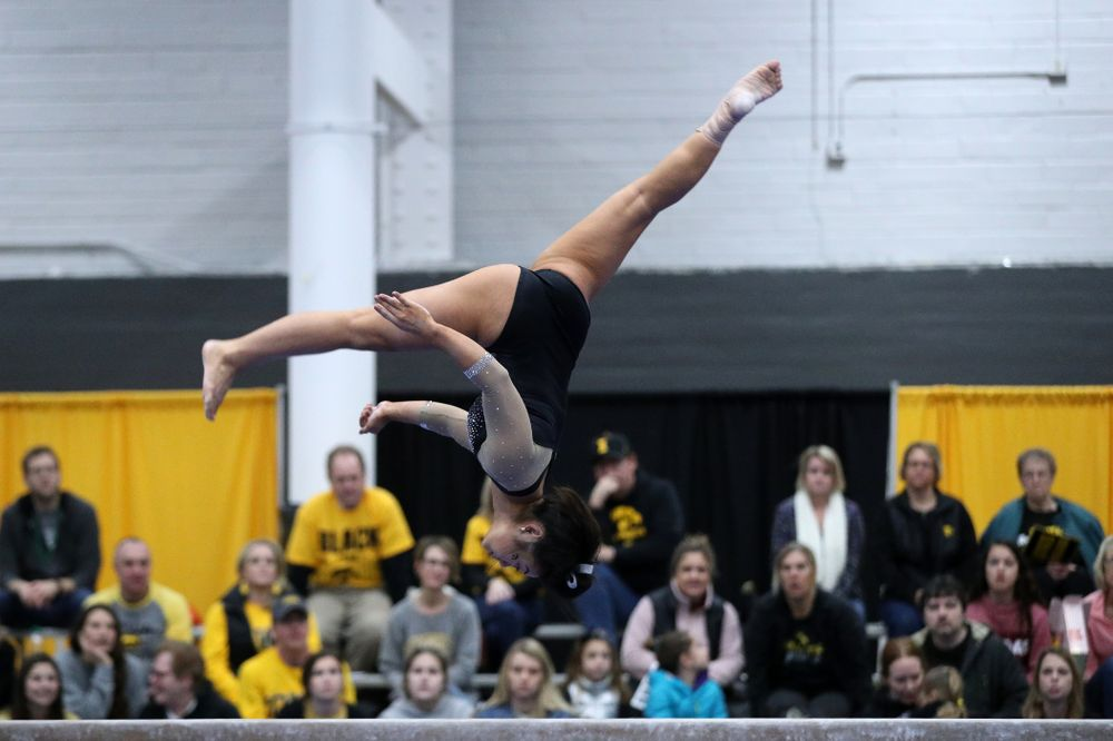 Clair Kaji competes on the beam during the Black and Gold intrasquad meet Saturday, December 1, 2018 at the University of Iowa Field House. (Brian Ray/hawkeyesports.com)