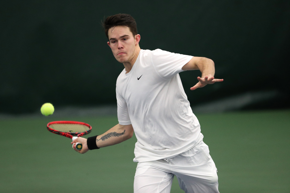 against North Dakota Friday, January 25, 2019 at the Hawkeye Tennis and Recreation Complex. (Brian Ray/hawkeyesports.com)