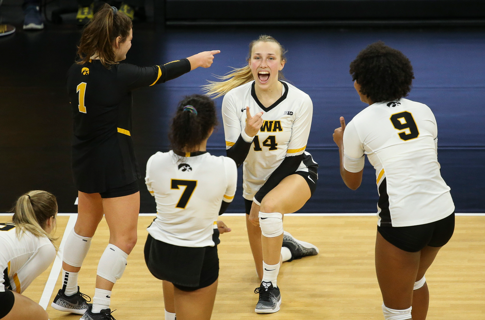 Iowa Hawkeyes outside hitter Cali Hoye (14) reacts after a kill during a game against Purdue at Carver-Hawkeye Arena on October 13, 2018. (Tork Mason/hawkeyesports.com)