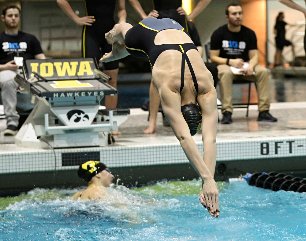 Iowa's Allyssa Fluit swims the women's 400 yard freestyle relay event during the 2020 Women's Big Ten Swimming and Diving Championships at the Campus Recreation and Wellness Center in Iowa City on Saturday, February 22, 2020. (Stephen Mally/hawkeyesports.com)