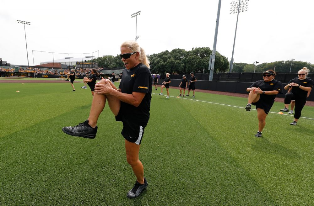 Head Softball Coach Renee Gillispie during the Iowa Student Athlete Kickoff Kickball game  Sunday, August 19, 2018 at Duane Banks Field. (Brian Ray/hawkeyesports.com)