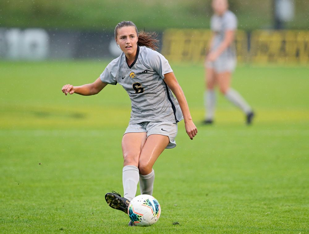 Iowa midfielder Isabella Blackman (6) passes the ball during the second half of their match at the Iowa Soccer Complex in Iowa City on Sunday, Sep 29, 2019. (Stephen Mally/hawkeyesports.com)
