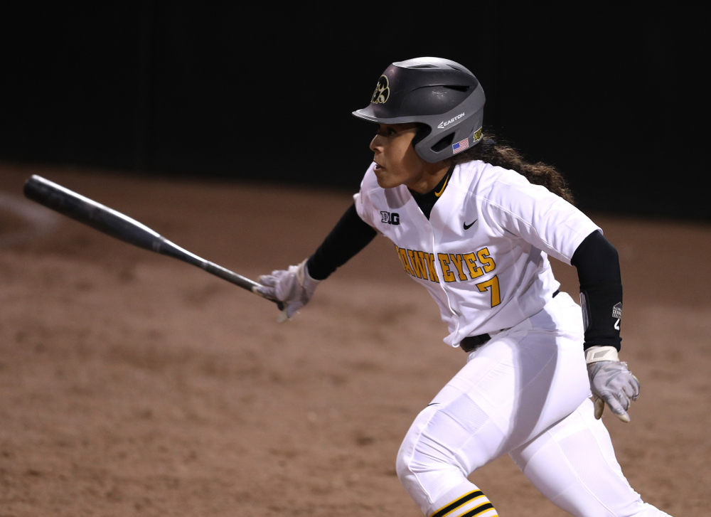 Iowa Hawkeyes Lea Thompson (7) against Western Illinois Wednesday, March 27, 2019 at Pearl Field. (Brian Ray/hawkeyesports.com)