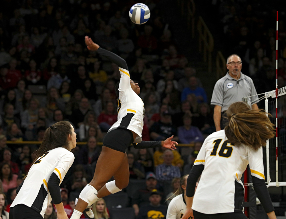 Iowa's Griere Hughes (10) lines up a kill during the third set of their match against Nebraska at Carver-Hawkeye Arena in Iowa City on Saturday, Nov 9, 2019. (Stephen Mally/hawkeyesports.com)