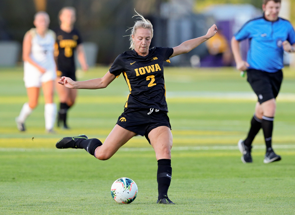 Iowa midfielder Hailey Rydberg (2) lines up a shot during the first half of their match against Western Michigan at the Iowa Soccer Complex in Iowa City on Thursday, Aug 22, 2019. (Stephen Mally/hawkeyesports.com)