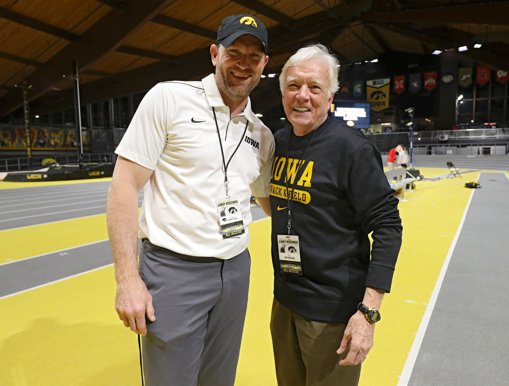 Iowa director of track and field Joey Woody (from left) and Larry Wieczorek during the Larry Wieczorek Invitational at the Recreation Building in Iowa City on Saturday, January 18, 2020. (Stephen Mally/hawkeyesports.com)