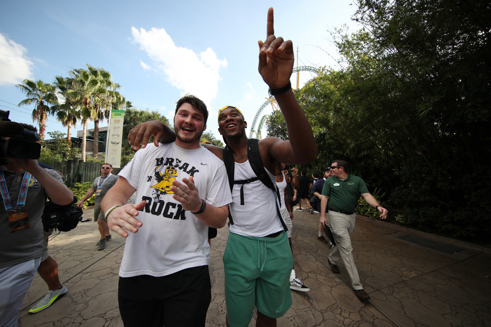 Iowa Hawkeyes defensive lineman Jack Kallenberger (97) and defensive end Chauncey Golston (57) during an Outback Bowl team event Saturday, December 29, 2018 at Busch Gardens in Tampa, FL. (Brian Ray/hawkeyesports.com)