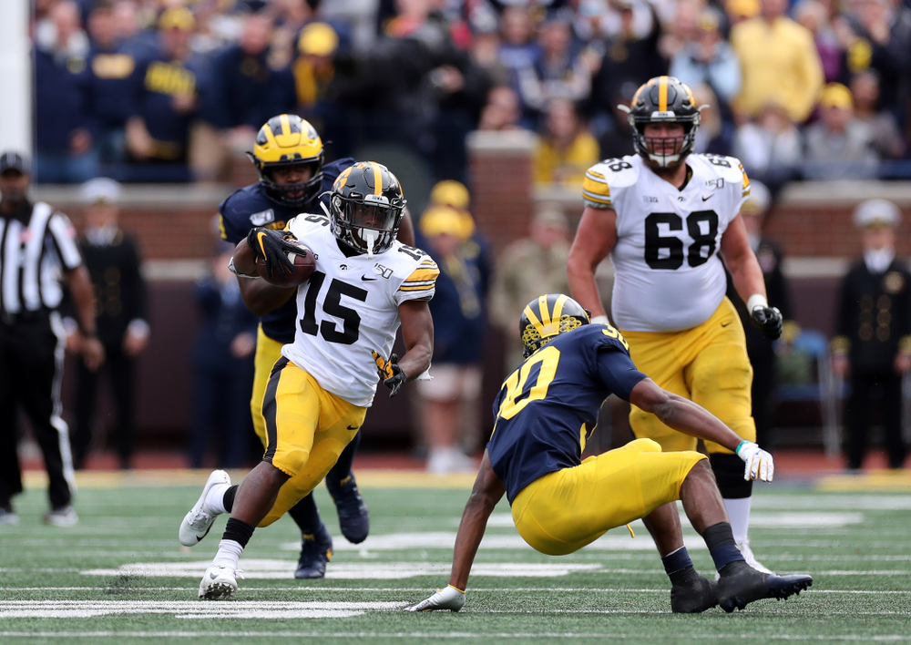 Iowa Hawkeyes running back Tyler Goodson (15) against the Michigan Wolverines Saturday, October 5, 2019 at Michigan Stadium in Ann Arbor, MI. (Brian Ray/hawkeyesports.com)