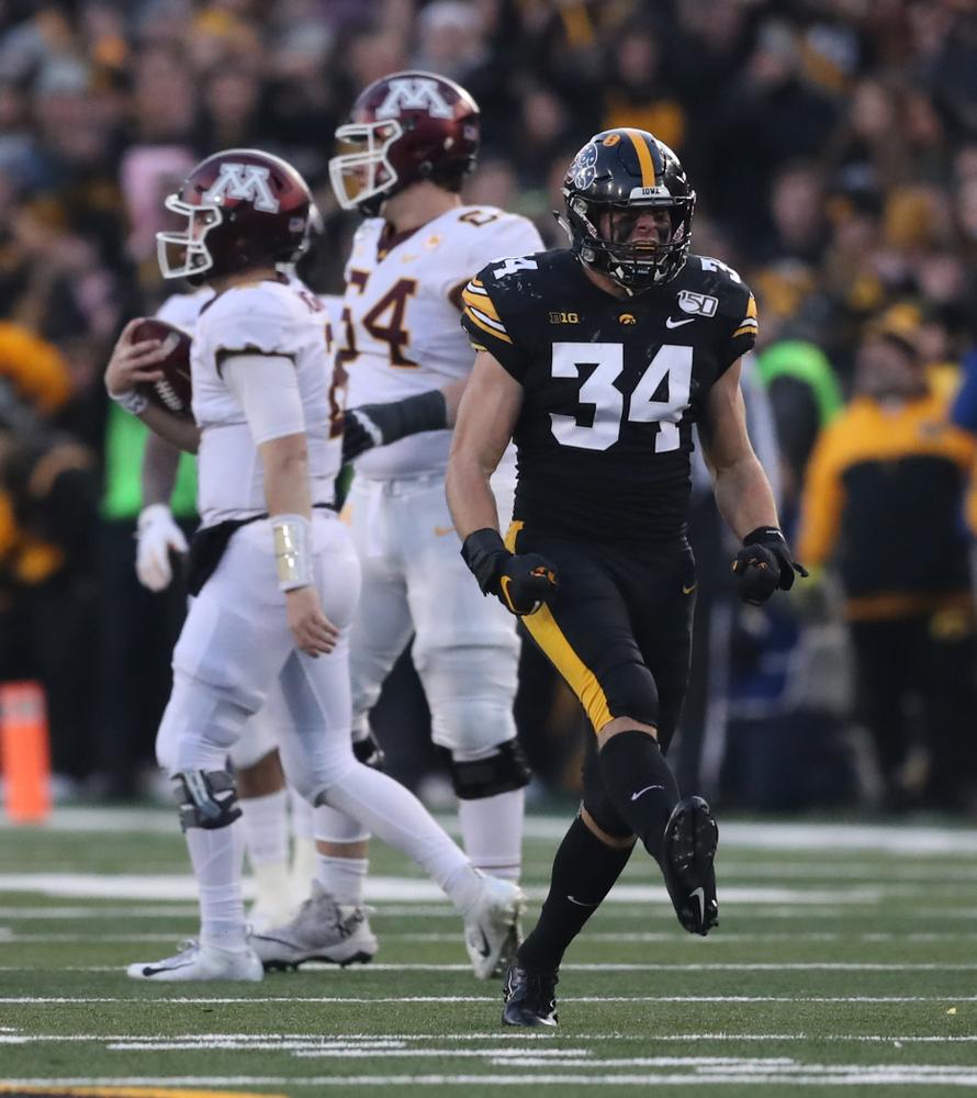 Iowa Hawkeyes linebacker Kristian Welch (34) against Minnesota Saturday, September 28, 2019 at Kinnick Stadium. (Max Allen/hawkeyesports.com)