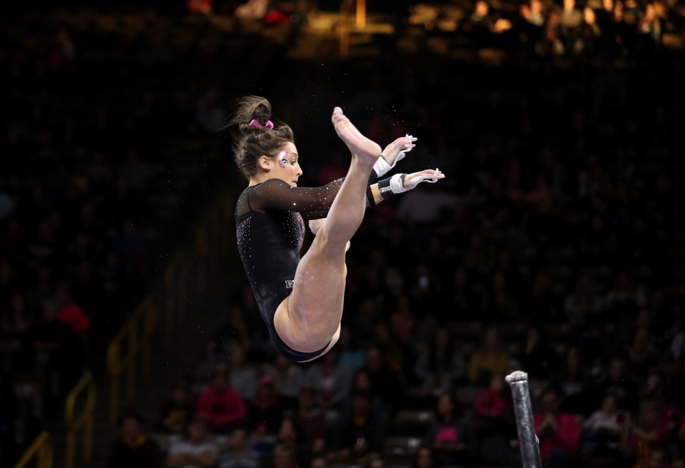 Iowa's Jax Kranitz competes on the beam against the Minnesota Golden Gophers Saturday, January 19, 2019 at Carver-Hawkeye Arena. (Brian Ray/hawkeyesports.com)