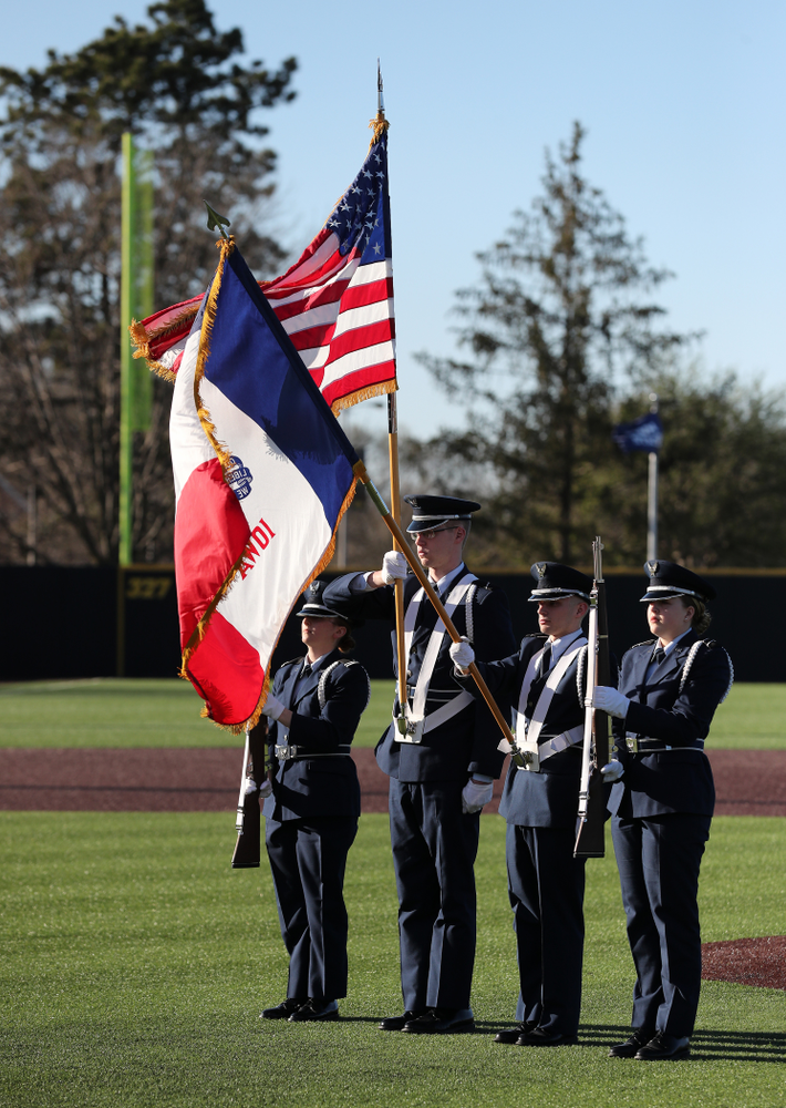 Members of the University of Iowa ROTC presents the colors during the National Anthem  before the Iowa Hawkeyes game against the Nebraska Cornhuskers on Military Appreciation Night Friday, April 19, 2019 at Duane Banks Field. (Brian Ray/hawkeyesports.com)