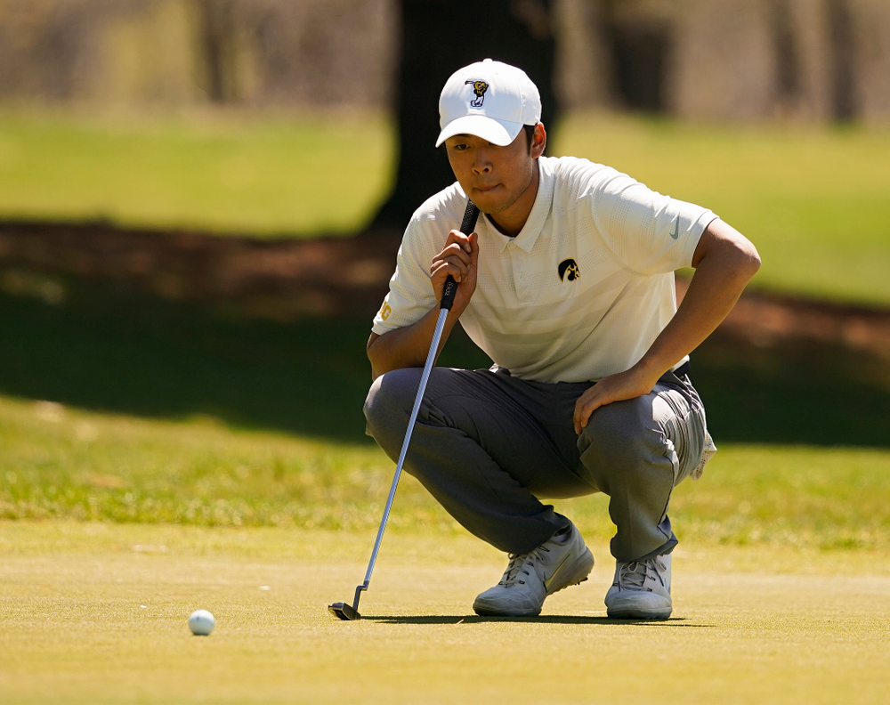Iowa's Joe Kim lines up a putt during the first round of the Hawkeye Invitational at Finkbine Golf Course in Iowa City on Saturday, Apr. 20, 2019. (Stephen Mally/hawkeyesports.com)