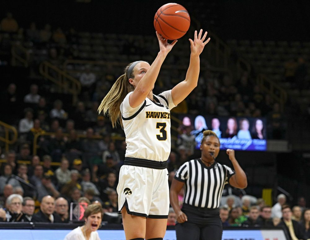 Iowa Hawkeyes guard Makenzie Meyer (3) makes a basket during the first quarter of their game at Carver-Hawkeye Arena in Iowa City on Sunday, January 12, 2020. (Stephen Mally/hawkeyesports.com)