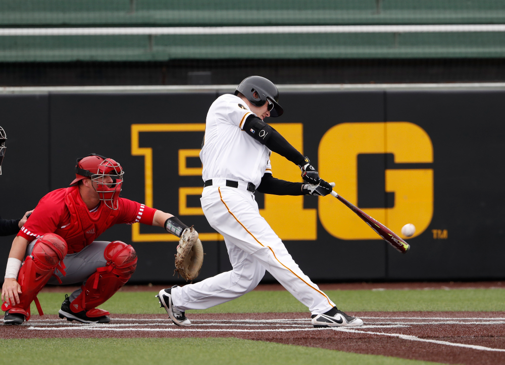 Iowa Hawkeyes catcher Austin Guzzo (20) during a double header against the Indiana Hoosiers Friday, March 23, 2018 at Duane Banks Field. (Brian Ray/hawkeyesports.com)