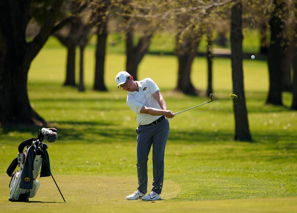 Iowa's Matthew Walker hits from the fairway during the first round of the Hawkeye Invitational at Finkbine Golf Course in Iowa City on Saturday, Apr. 20, 2019. (Stephen Mally/hawkeyesports.com)