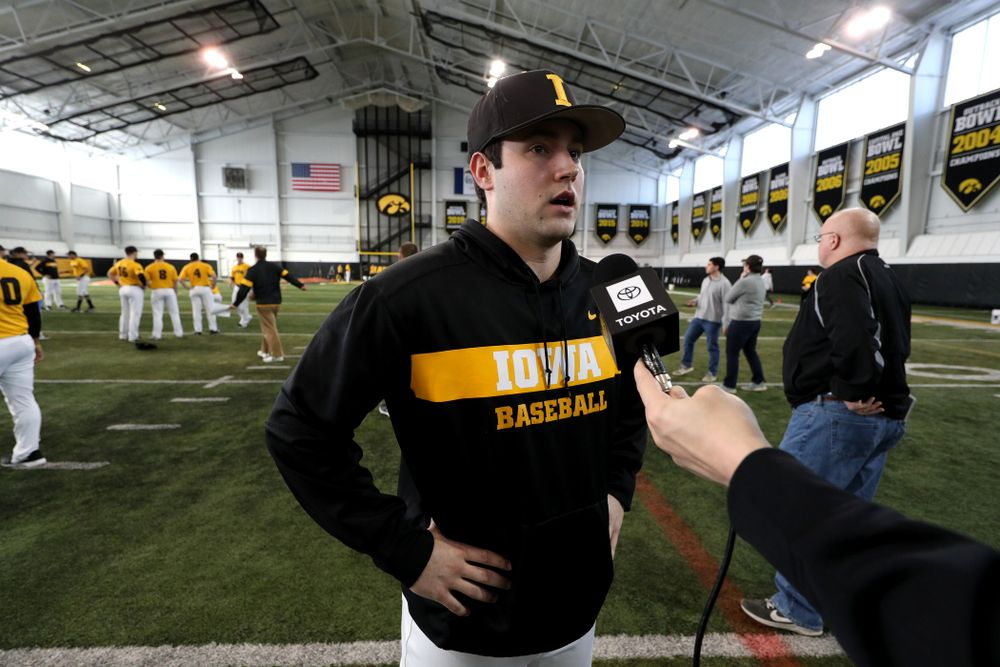 Iowa Hawkeyes Grant Leonard (43) answers questions from reporters during their annual media day Thursday, February 6, 2020 at the Indoor Practice Facility. (Brian Ray/hawkeyesports.com)