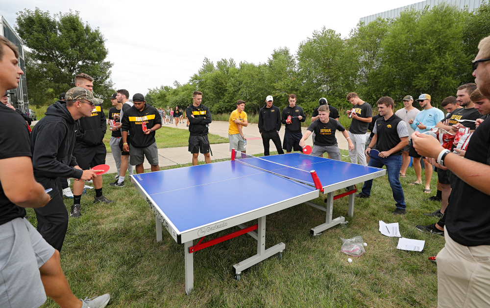 Student-athletes play ping pong during the Student-Athlete Kickoff outside the Karro Athletics Hall of Fame Building in Iowa City on Sunday, Aug 25, 2019. (Stephen Mally/hawkeyesports.com)
