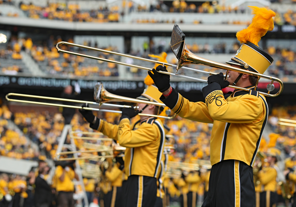The Hawkeye Marching Band performs during halftime of their game at Kinnick Stadium in Iowa City on Saturday, Sep 28, 2019. (Stephen Mally/hawkeyesports.com)