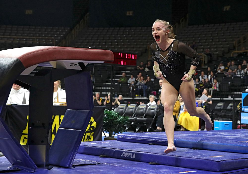 Iowa's Lauren Guerin competes on the vault during their meet at Carver-Hawkeye Arena in Iowa City on Sunday, March 8, 2020. (Stephen Mally/hawkeyesports.com)