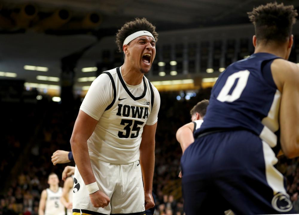 Iowa Hawkeyes forward Cordell Pemsl (35) reacts following a basket against Penn State Saturday, February 29, 2020 at Carver-Hawkeye Arena. (Brian Ray/hawkeyesports.com)