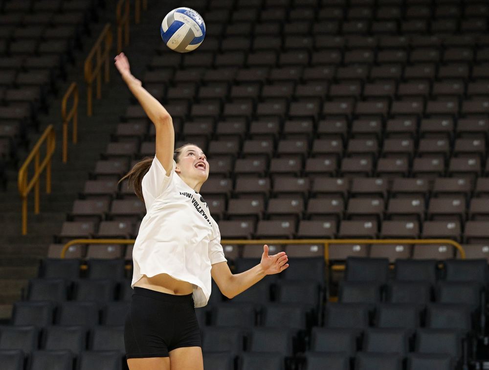 Iowa's Courtney Buzzerio (2) during Iowa Volleyball's Media Day at Carver-Hawkeye Arena in Iowa City on Friday, Aug 23, 2019. (Stephen Mally/hawkeyesports.com)