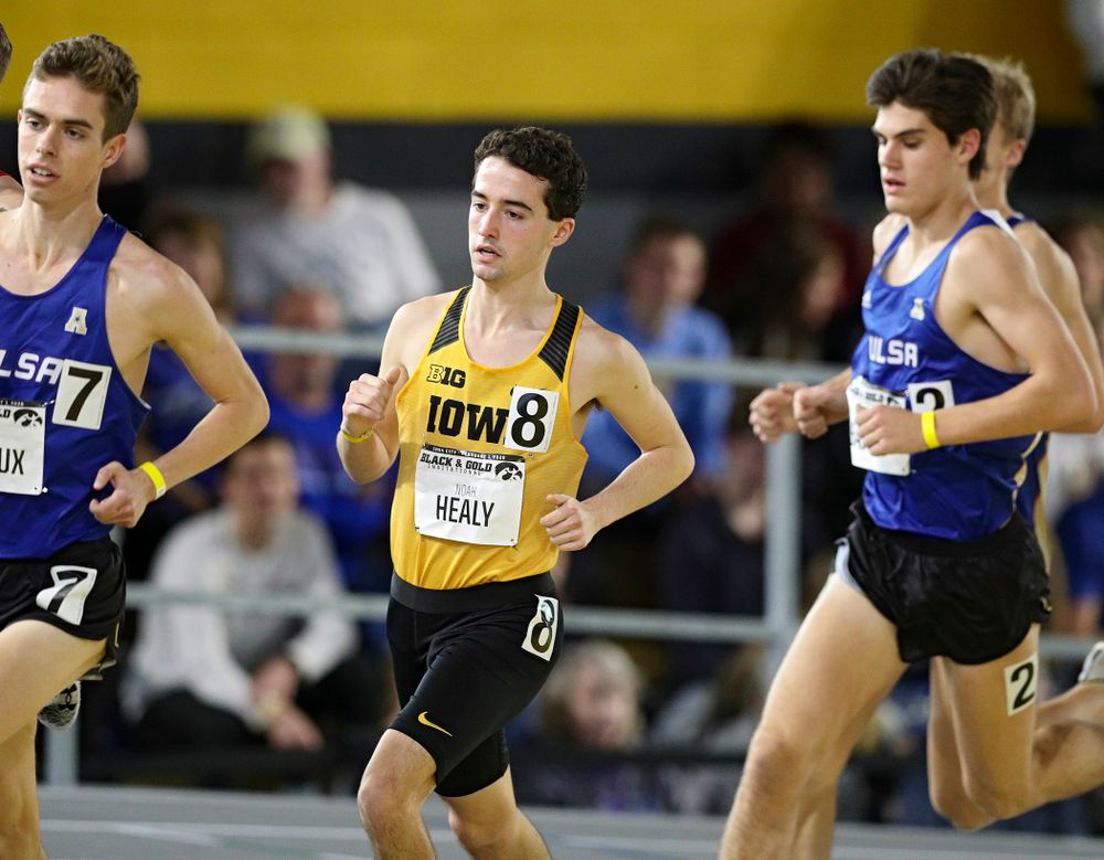 Iowa's Noah Healy runs the men's 1 mile run event at the Black and Gold Invite at the Recreation Building in Iowa City on Saturday, February 1, 2020. (Stephen Mally/hawkeyesports.com)