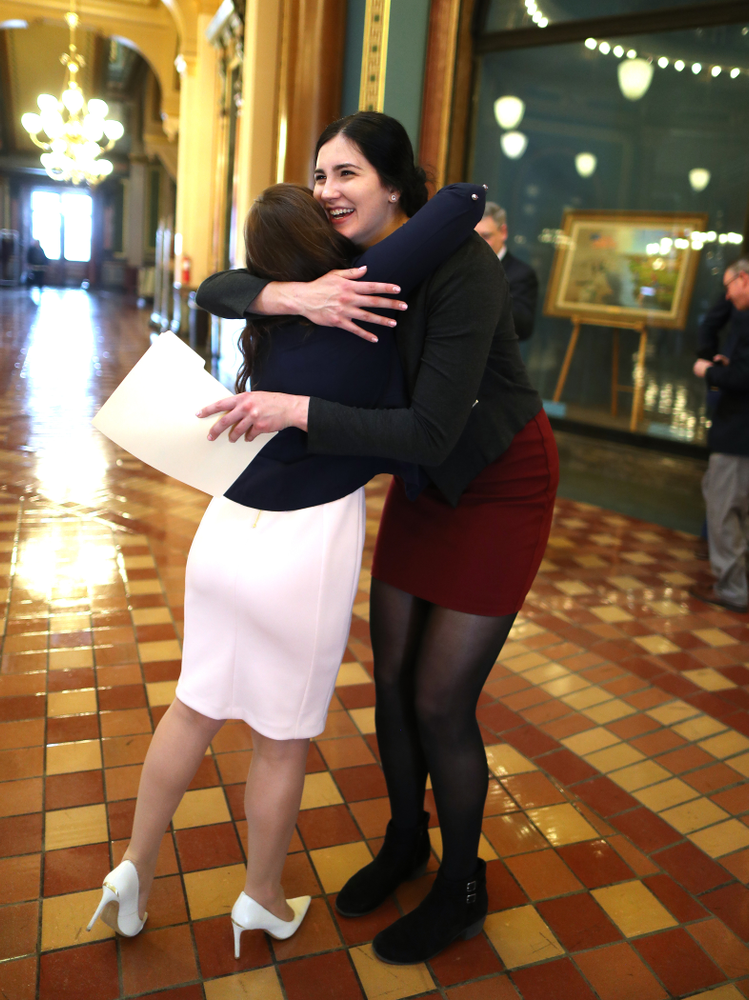IowaÕs Megan Gustafson meets U.S. Representative Abby Finkenauer in the rotunda at the Iowa State Capitol Wednesday, April 24, 2019 in Des Moines. (Brian Ray/hawkeyesports.com)