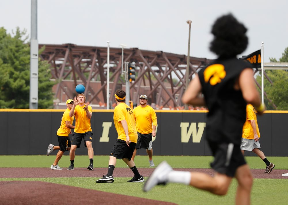 Women's Tennis Assistant Coach Danny Leitner during the Iowa Student Athlete Kickoff Kickball game  Sunday, August 19, 2018 at Duane Banks Field. (Brian Ray/hawkeyesports.com)