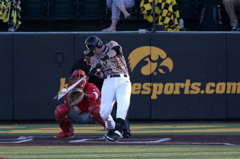 Iowa Hawkeyes Chris Whelan (28) against the Nebraska Cornhuskers on Military Appreciation Night Friday, April 19, 2019 at Duane Banks Field. (Brian Ray/hawkeyesports.com)