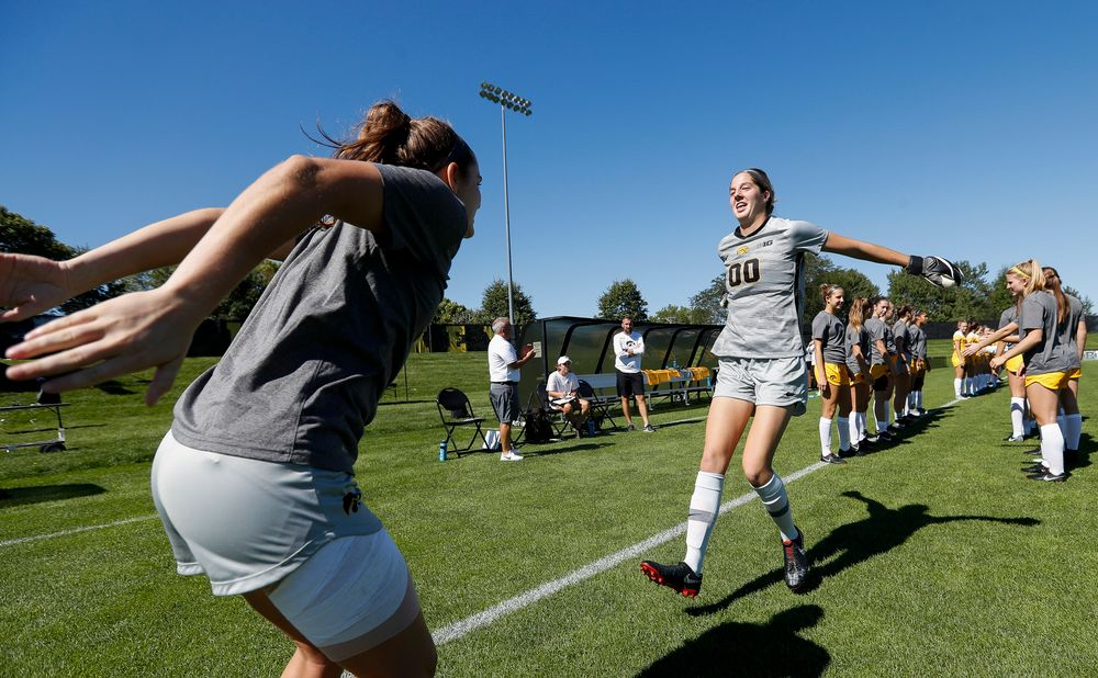 Iowa Hawkeyes goalkeeper Cora Meyers (00) is introduced before a game against Indiana at the Iowa Soccer Complex on September 23, 2018. (Tork Mason/hawkeyesports.com)