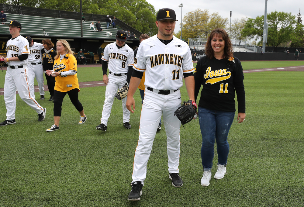 Iowa Hawkeyes Cole McDonald (11) before their game against Michigan State Sunday, May 12, 2019 at Duane Banks Field. (Brian Ray/hawkeyesports.com)