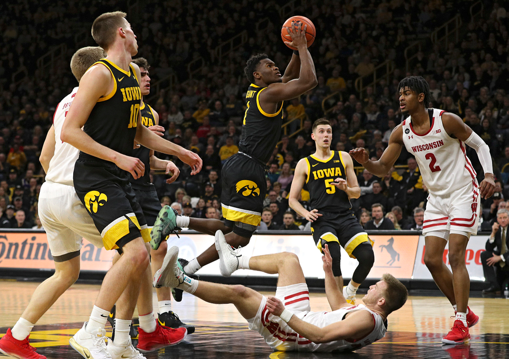 Iowa Hawkeyes guard Joe Toussaint (1) makes a basket during the second half of their game at Carver-Hawkeye Arena in Iowa City on Monday, January 27, 2020. (Stephen Mally/hawkeyesports.com)