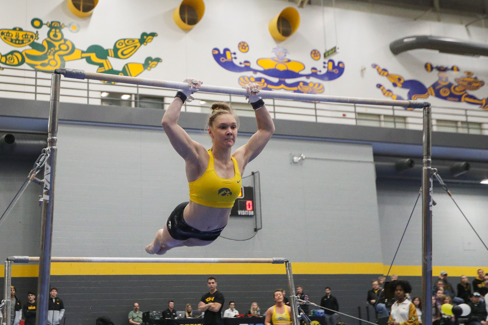 Allyson Steffensmeier performs on the uneven bars during the Iowa women's gymnastics Black and Gold Intraquad Meet on Saturday, December 7, 2019 at the UI Field House. (Lily Smith/hawkeyesports.com)