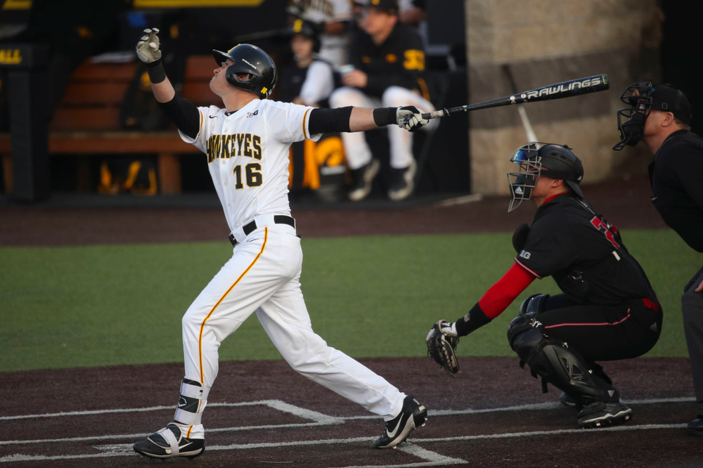 Iowa infielder Tanner Wetrich  at game 1 vs Rutgers on Friday, April 5, 2019 at Duane Banks Field. (Lily Smith/hawkeyesports.com)