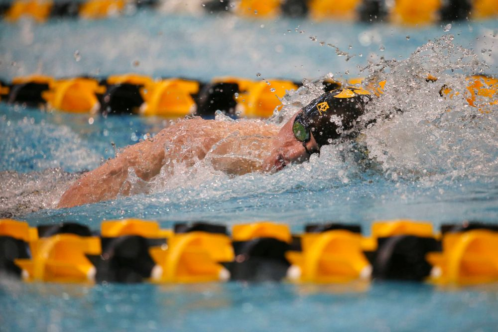 Iowa's Anze Fers Erzan team at the 200-yard backstroke race  Saturday, March 2, 2019 at the Campus Recreation and Wellness Center. (Lily Smith/hawkeyesports.com)