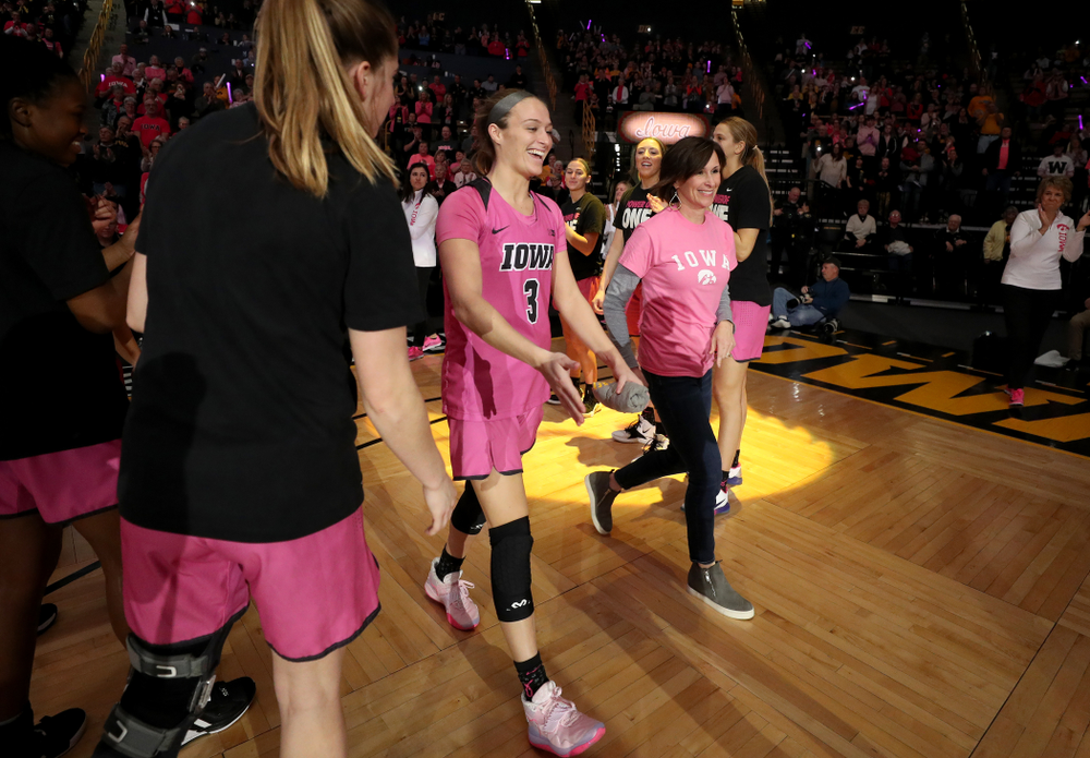 Iowa Hawkeyes guard Makenzie Meyer (3) is introduced before their game against the Wisconsin Badgers Sunday, February 16, 2020 at Carver-Hawkeye Arena. (Brian Ray/hawkeyesports.com)