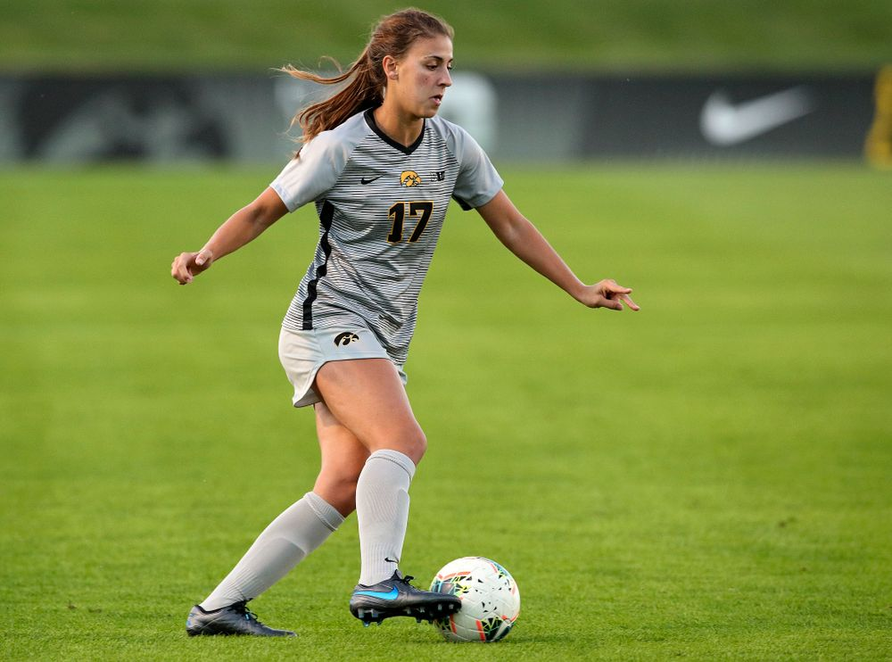 Iowa defender Hannah Drkulec (17) moves with the ball during the first half of their match at the Iowa Soccer Complex in Iowa City on Friday, Sep 13, 2019. (Stephen Mally/hawkeyesports.com)