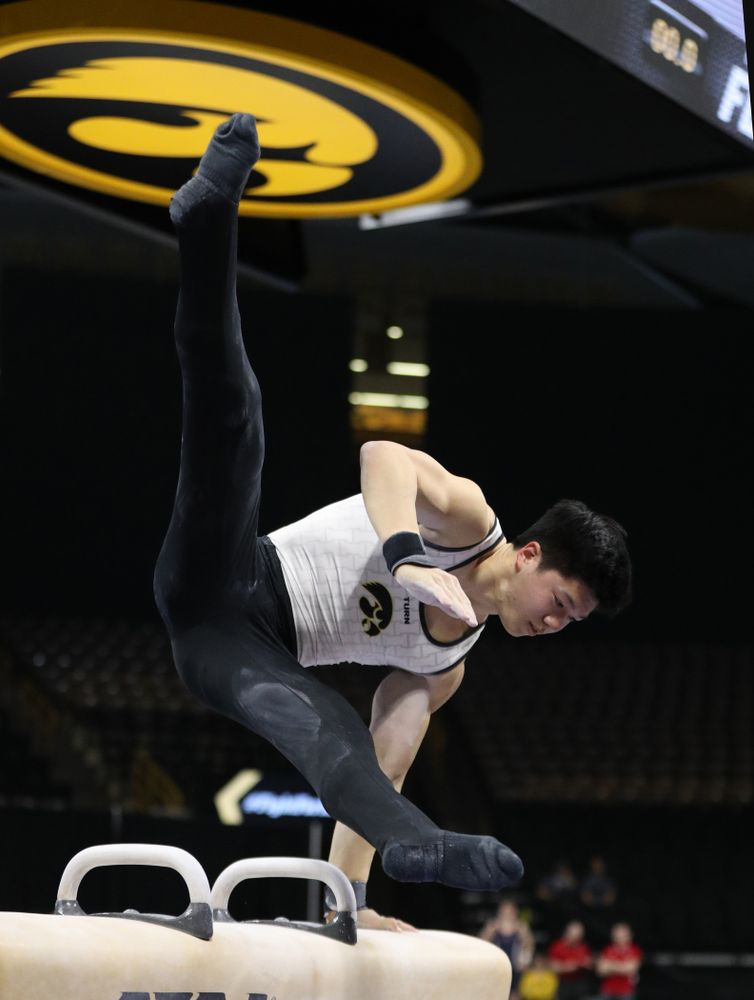 Bennet Huang competes on the pommel horse against UIC and Minnesota Saturday, February 2, 2019 at Carver-Hawkeye Arena. (Brian Ray/hawkeyesports.com)
