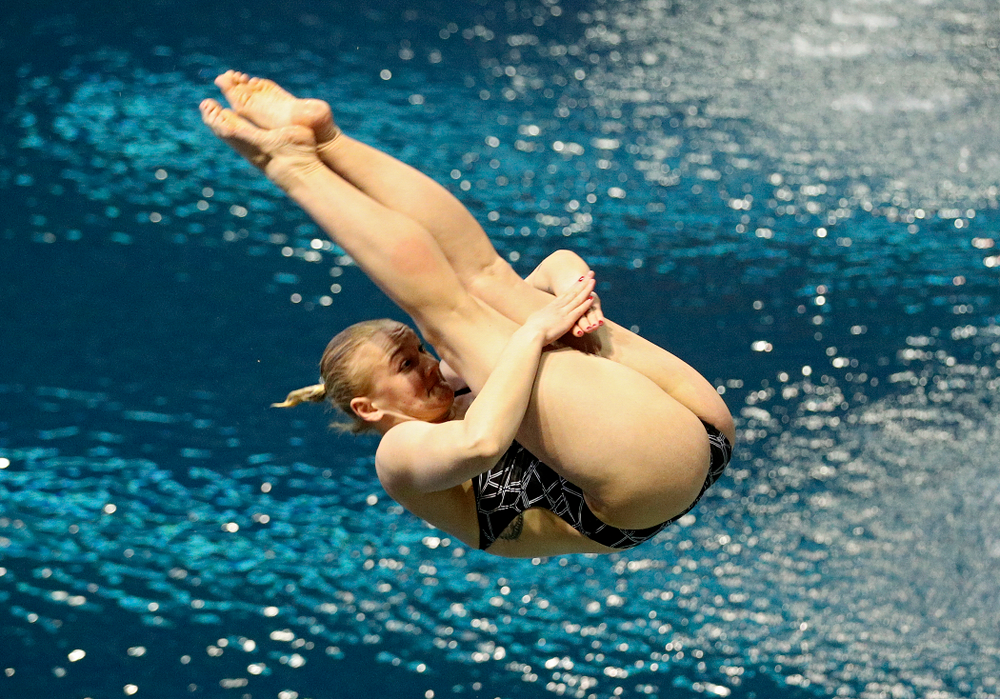 Iowa's Thelma Strandberg competes in the women's 1 meter diving preliminary event during the 2020 Women's Big Ten Swimming and Diving Championships at the Campus Recreation and Wellness Center in Iowa City on Thursday, February 20, 2020. (Stephen Mally/hawkeyesports.com)