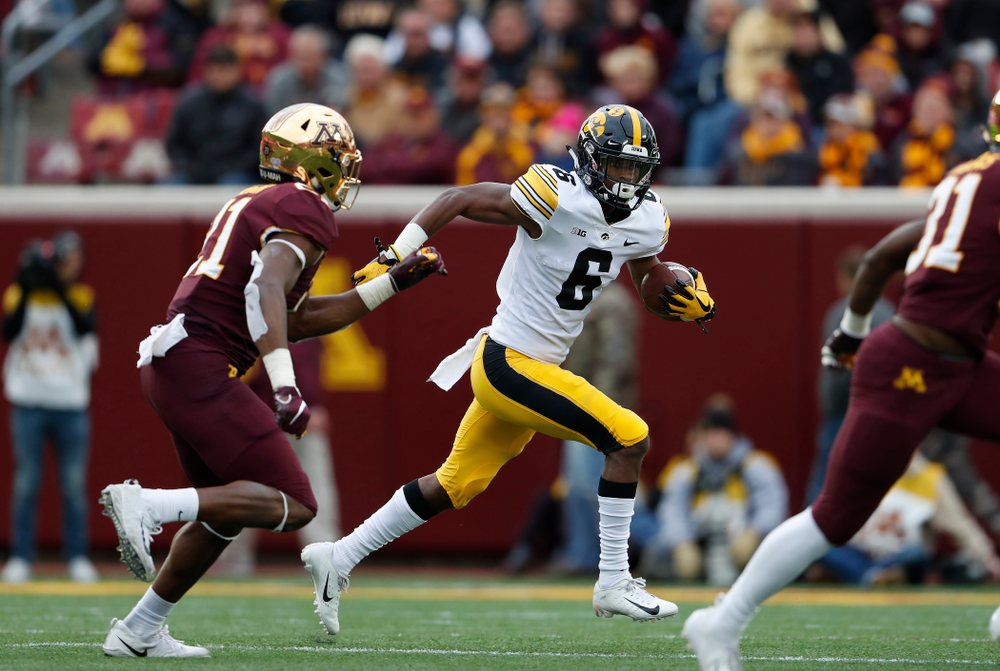 Iowa Hawkeyes wide receiver Ihmir Smith-Marsette (6) against the Minnesota Golden Gophers Saturday, October 6, 2018 at TCF Bank Stadium. (Brian Ray/hawkeyesports.com)