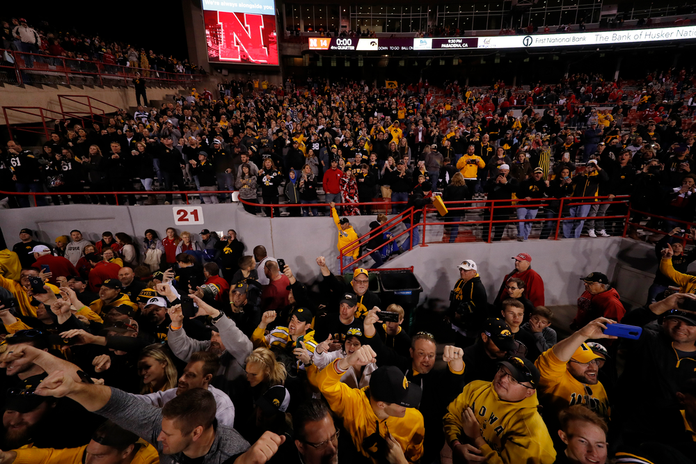 Fans cheer on the Iowa Hawkeyes