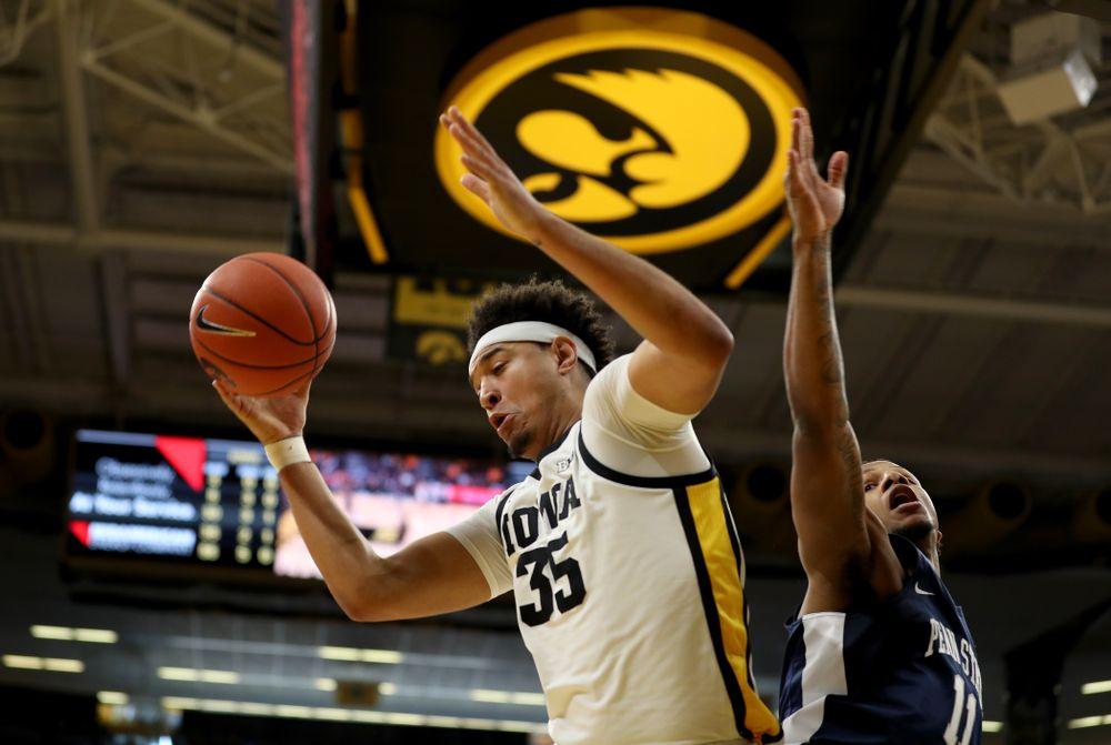 Iowa Hawkeyes forward Cordell Pemsl (35) grabs a rebound against Penn State Saturday, February 29, 2020 at Carver-Hawkeye Arena. (Brian Ray/hawkeyesports.com)