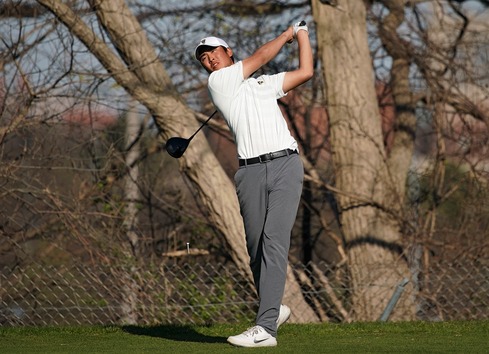 Iowa's Joe Kim tees off during the second round of the Hawkeye Invitational at Finkbine Golf Course in Iowa City on Saturday, Apr. 20, 2019. (Stephen Mally/hawkeyesports.com)