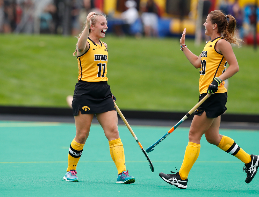 Iowa Hawkeyes Katie Birch (11) and Sophie Sunderland (20) against Ball State Sunday, September 2, 2018 at Grant Field. (Brian Ray/hawkeyesports.com)