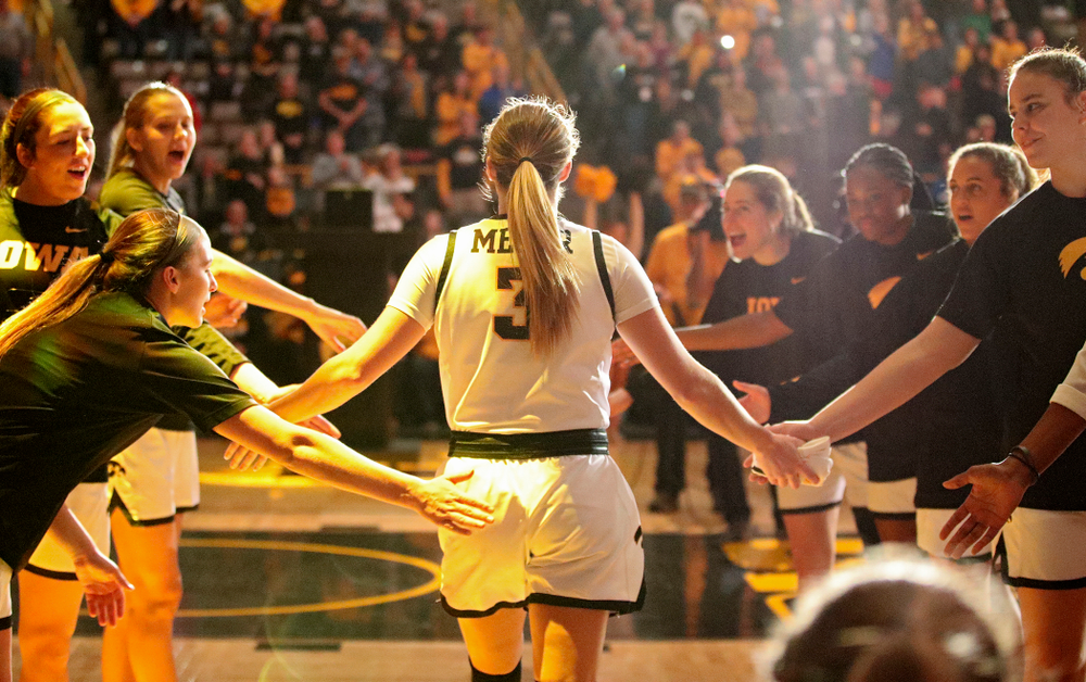 Iowa Hawkeyes guard Makenzie Meyer (3) is introduced before their game at Carver-Hawkeye Arena in Iowa City on Tuesday, December 31, 2019. (Stephen Mally/hawkeyesports.com)