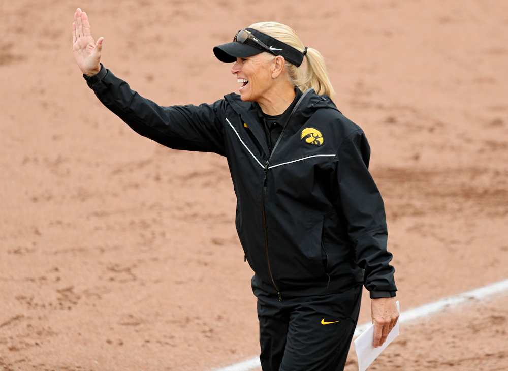 Iowa head coach Renee Gillispie celebrates after a 2-run home run during the fourth inning of their game against Iowa Softball vs Indian Hills Community College at Pearl Field in Iowa City on Sunday, Oct 6, 2019. (Stephen Mally/hawkeyesports.com)
