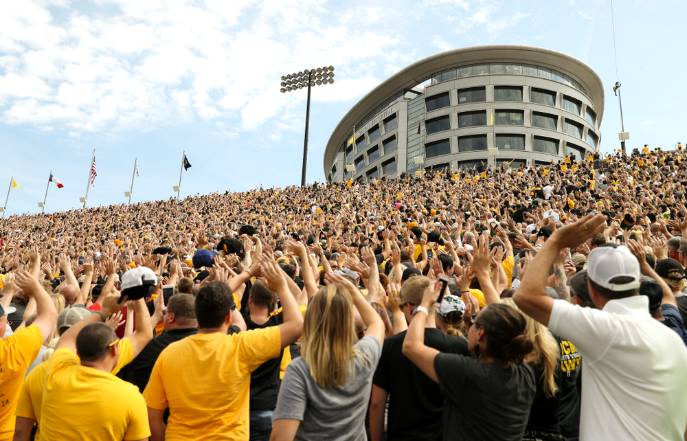Fans wave to the University of Iowa Stead Family Children's Hospital between the first and second quarter of their Big Ten Conference football game at Kinnick Stadium in Iowa City on Saturday, Sep 7, 2019. (Stephen Mally/hawkeyesports.com)